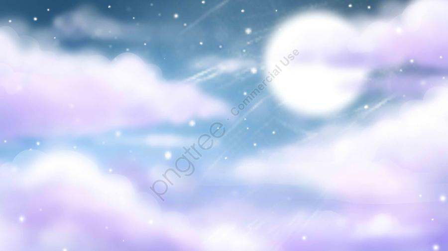 美しい空の雲の背景, イラスト, 青い背景, ムーン llustration image