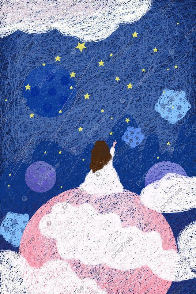 सुंदर तारों से आकाश का तार पेंटिंग गुलाबी, नीले, सितारों की गिनती, लड़की llustration image