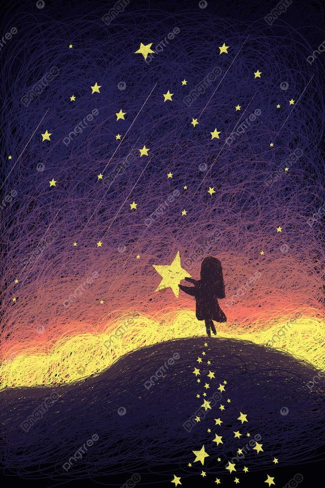 सितारों की किशोर लड़की को उठाते हुए सुंदर तारों वाला आकाश, स्टार, रात को आसमान, रात llustration image