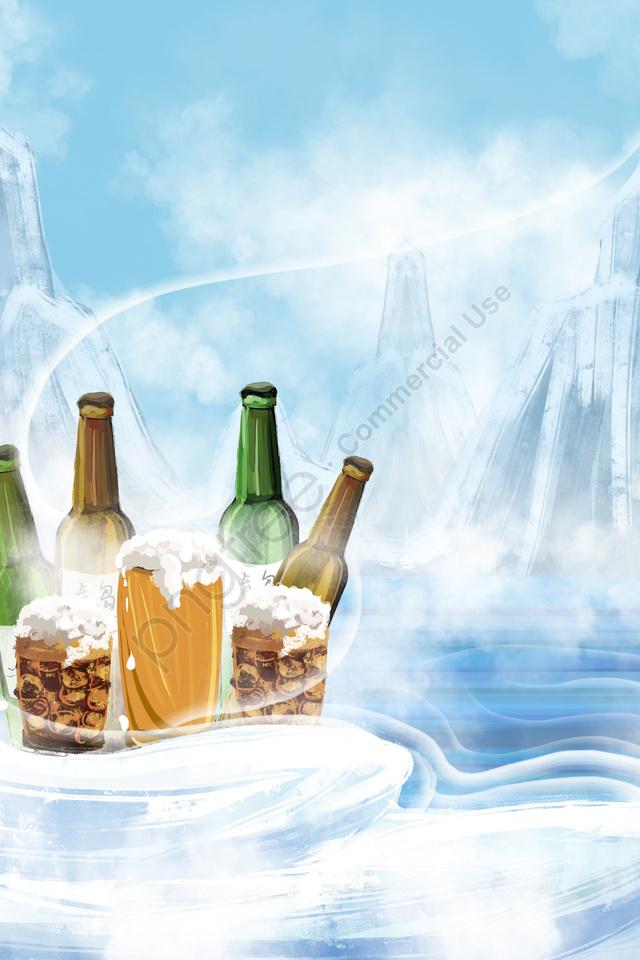ビール雪山氷アイスビール, ワインボトル, ワイングラス, 夏 llustration image