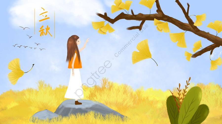 Bắt đầu Mùa Thu Minh Họa Cây Bạch Quả Lá Vàng, Vẽ Tay Tinh Khiết, Kết Cấu Phấn, Phục Hồi Chức Năng llustration image