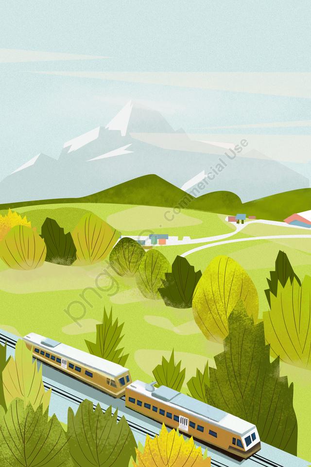 春の治癒距離風景の始まり, 高速列車, 旅行, 春の始まり llustration image