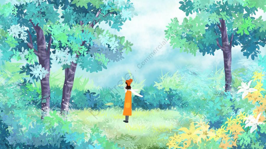 春の女の子の始まり春の緑, 美しい, Ich春手描き, 少女イラスト llustration image