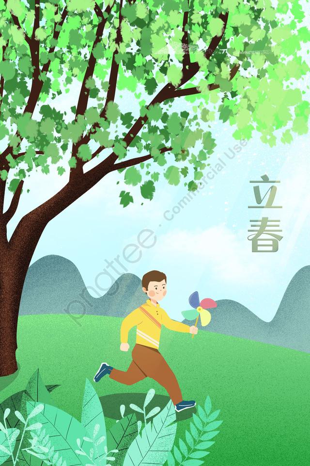 春の郊外少年グリーン, 近郊, 利春, 春の始まり llustration image