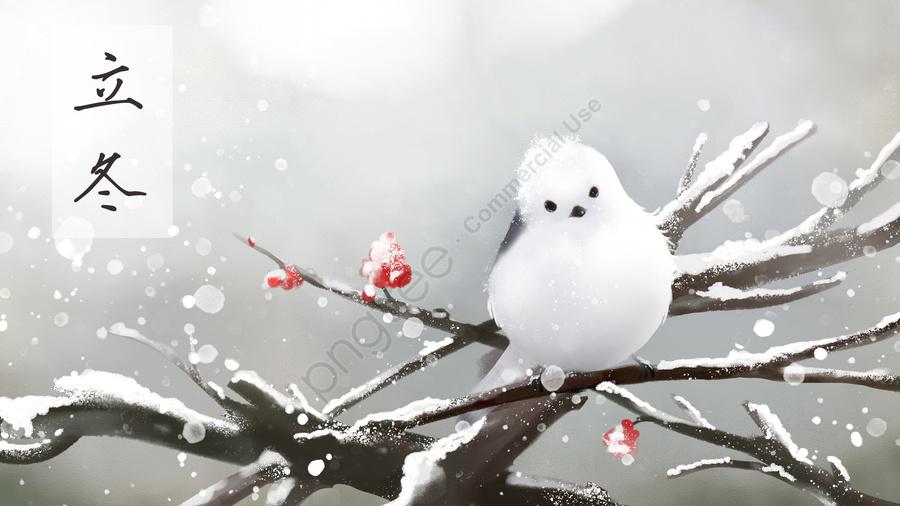 Beginning Of Winter Fat Early Winter Winter, Winter, Little Bird, Snowing llustration image
