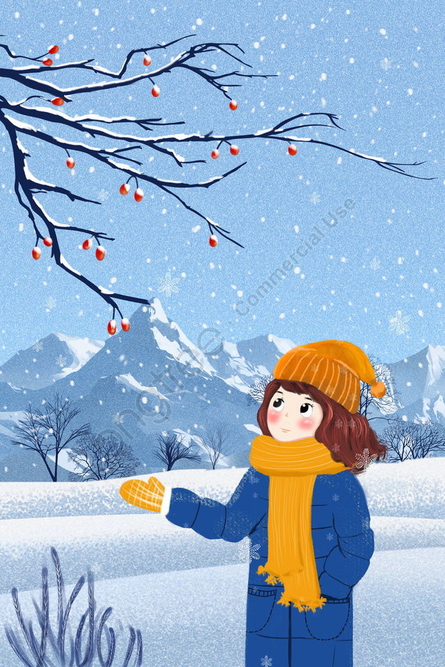 Beginning Of Winter Illustration Light Snow Heavy Snow, Winter, Scenes, Hand Painted llustration image