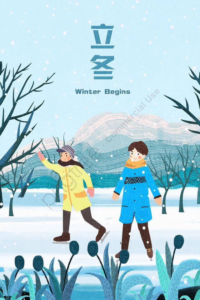 Beginning Of Winter Snow North Ice Skating, Beginning Of Winter, Snow, North llustration image
