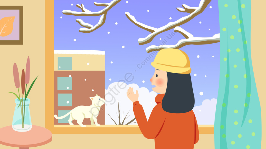 Beginning Of Winter Snowy Day Winter Girl, Indoor Girl, Wearing A Hat Girl, Snowing llustration image