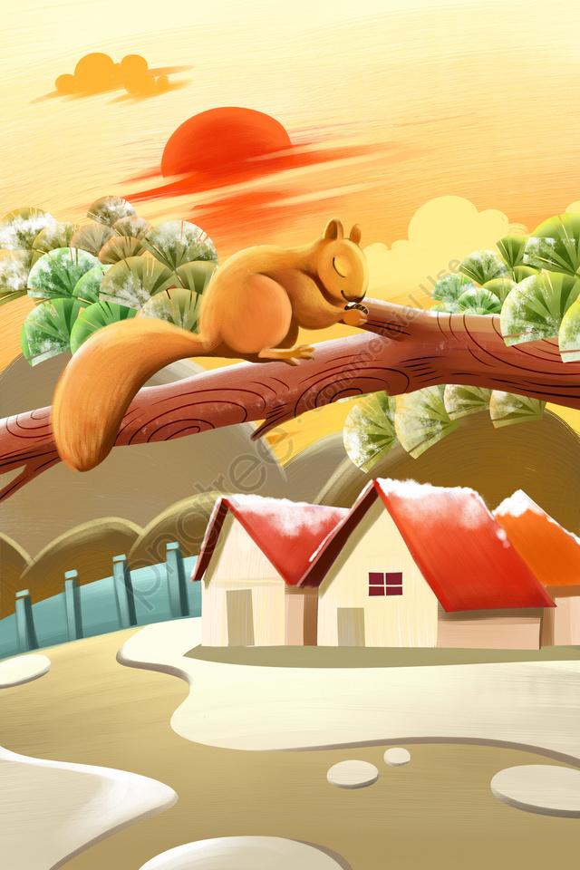 冬の始まり24ソーラー用語コールドソーラー用語, 松, リス, 家 llustration image