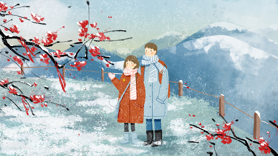 Beginning Of Winter Winter Light Snow Heavy Snow, Plum Blossom, Hanmei, Couple Travel llustration image