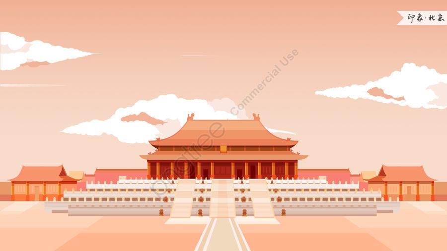 beijing forbidden city impression landmark building, Landmarks, City Illustration, Skyline llustration image