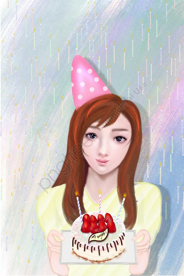 birthday birthday cake girl birthday candle, Cake, Hand Drawn Beauty, Birthday Party llustration image