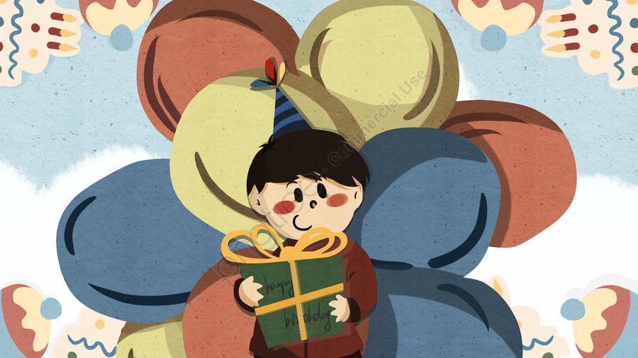 生日禮物氣球祝福, 賀卡, 手繪, 蛋糕 llustration image