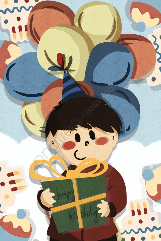 birthday gift balloon blessing, 生日, 禮物, 氣球 llustration image