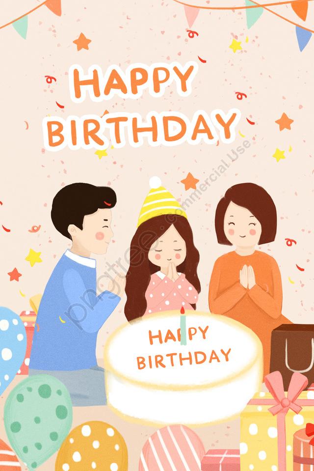 生日禮物彩旗氣球, 蛋糕, 家庭, 小孩 llustration image