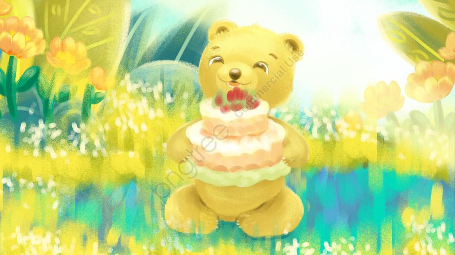 Birthday Happy Greeting Card Make A Wish Sweet Cake Bear Llustration