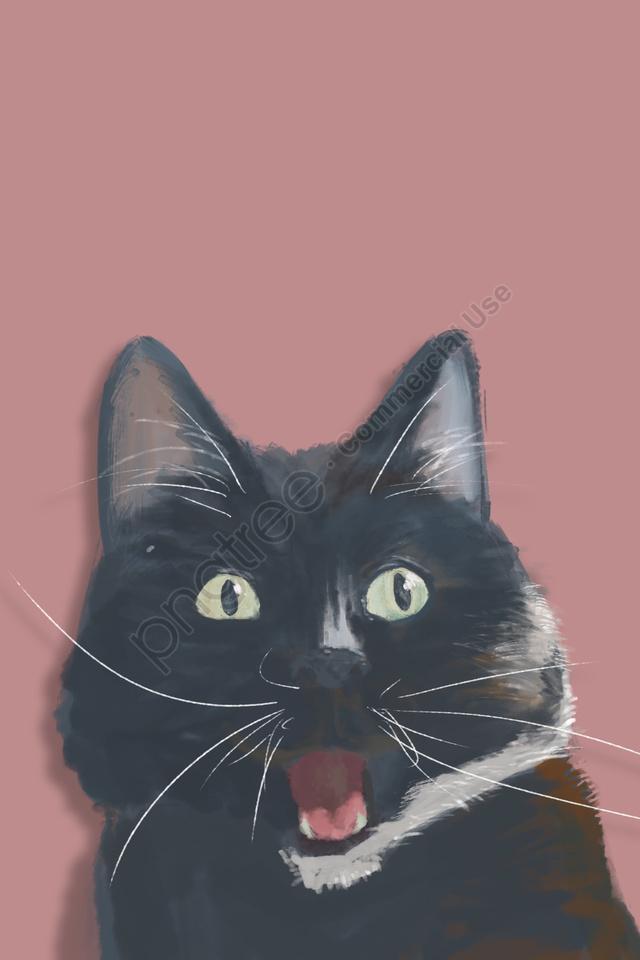 काली बिल्ली पालतू प्यारा पालतू जानवर, सुंदर, हाथ चित्रित, चित्रण llustration image