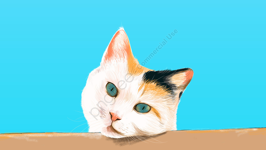 नीली बिल्ली प्यारा पालतू जानवर, सुंदर, हाथ चित्रित, नीले आकाश llustration image