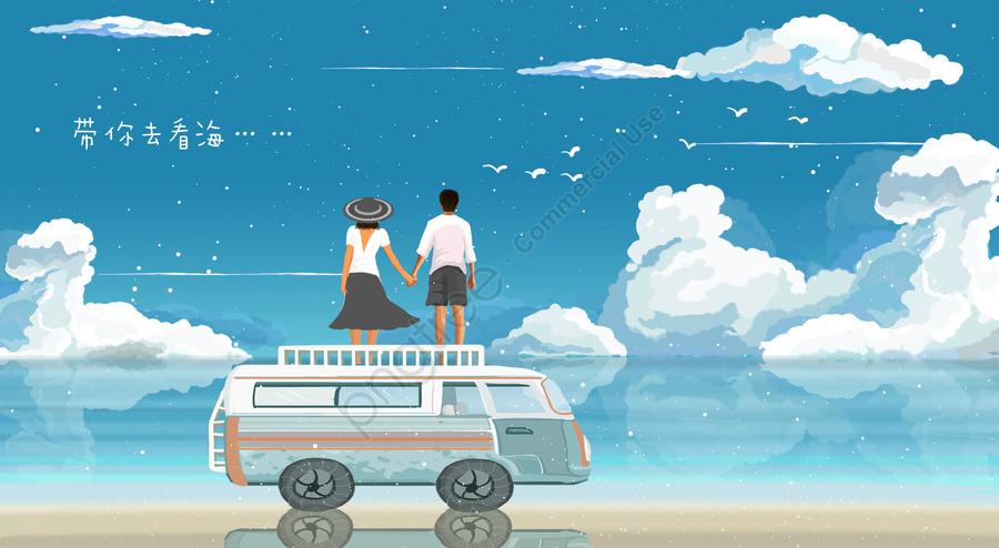 藍色海藍天和白色雲彩海邊海邊夫婦, 開車的夫婦, 浪漫的海邊插圖, 帶你去大海 llustration image