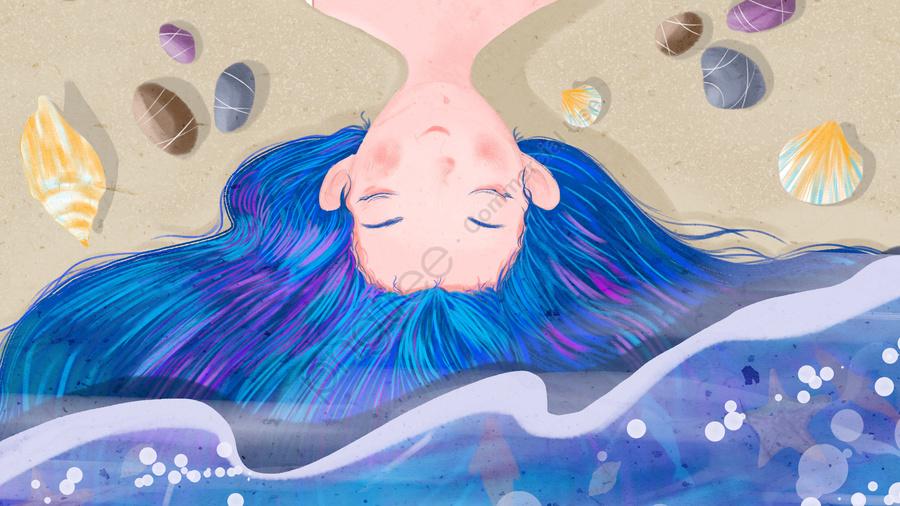 البحر الأزرق، المحيط، البنت المراهقة، حصاة, شل, محارة, مياه البحر llustration image