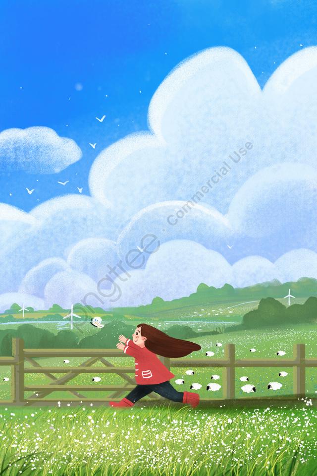 푸른 하늘 흰 구름 구름, 자유형, 잔디, 수직 llustration image