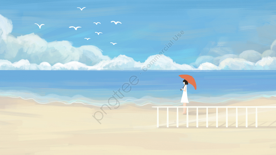 blue sky white clouds beautiful cure, Sea, Seaside, Beach llustration image