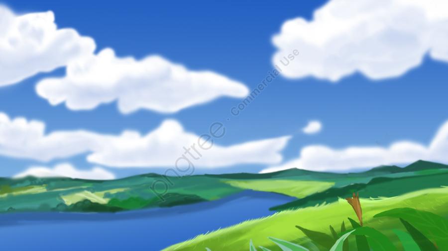 Langit Biru Awan Putih Istana Puncak Air Hijau, Segar, Indah, Rumput llustration image