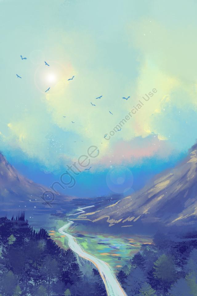 Cielo Azul Nubes Blancas Bosque Pico De Montaña, Campo, El Camino, La Luz Del Sol llustration image