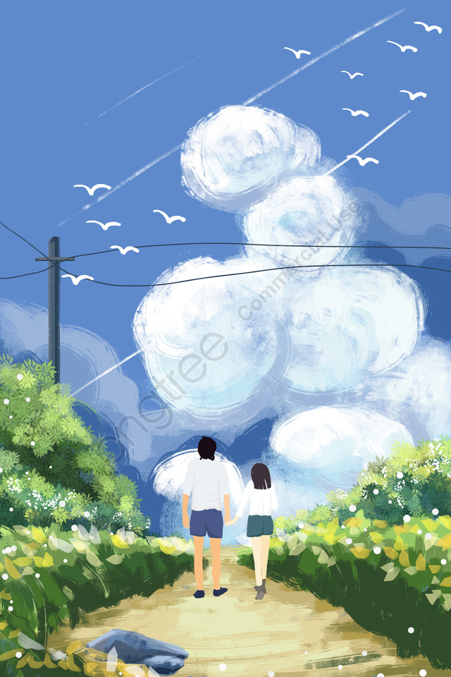 नीला आकाश सफेद बादलों घास के मैदान जंगल का रास्ता, ग्रीन, जंगली हंस, हाथ चित्रित llustration image
