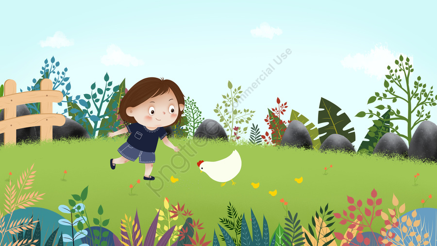 藍天白雲天空孩子, 草地, 喂雞, 雛雞 llustration image