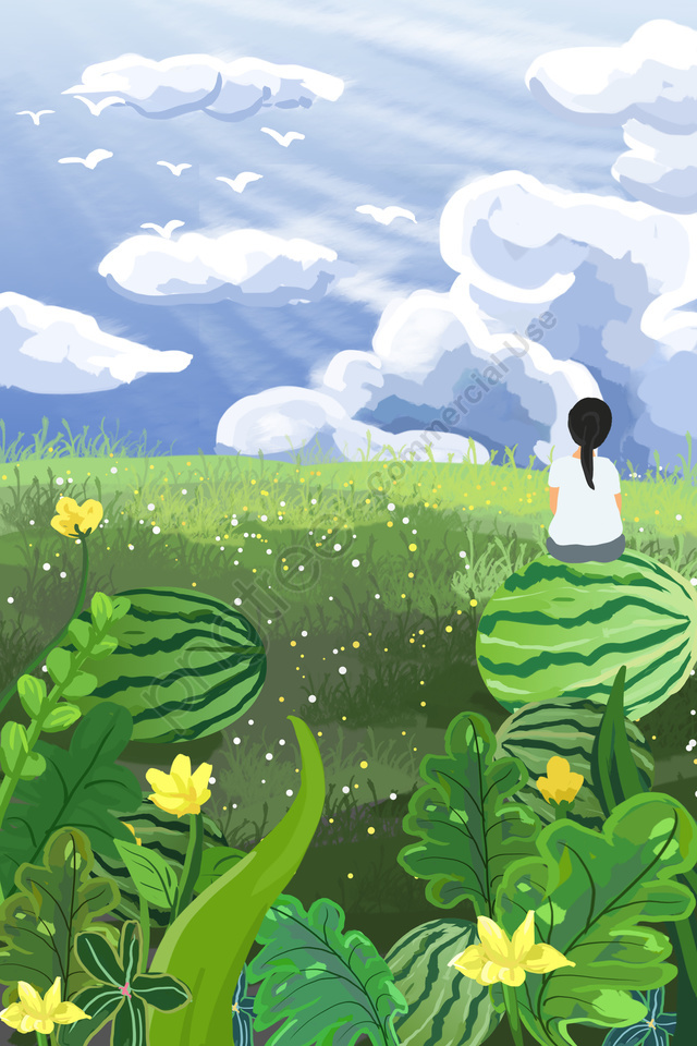 नीले आकाश सफेद बादल तरबूज तरबूज, तरबूज का बगीचा, लड़की, हाथ चित्रित llustration image