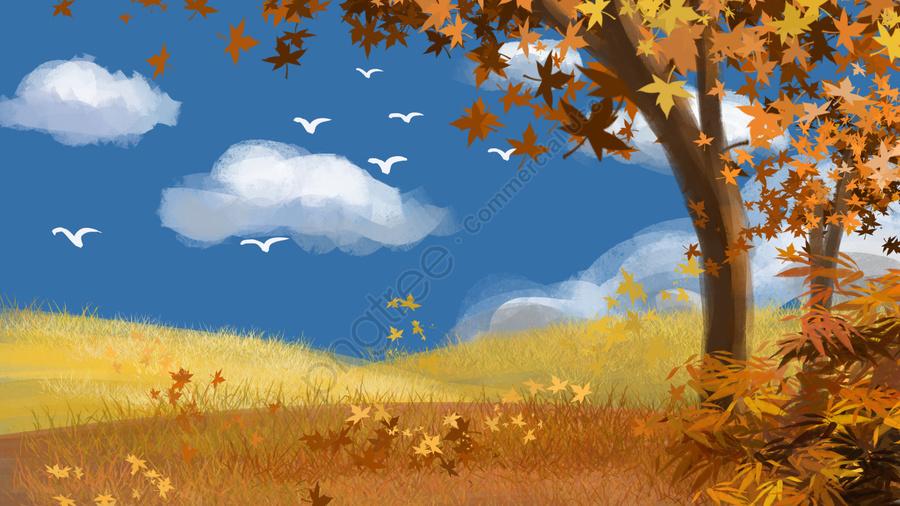 Biru Langit Awan Putih Musim Gugur Angsa Liar, Jatuh, Musim Luruh Lanskap, Musim Luruh llustration image