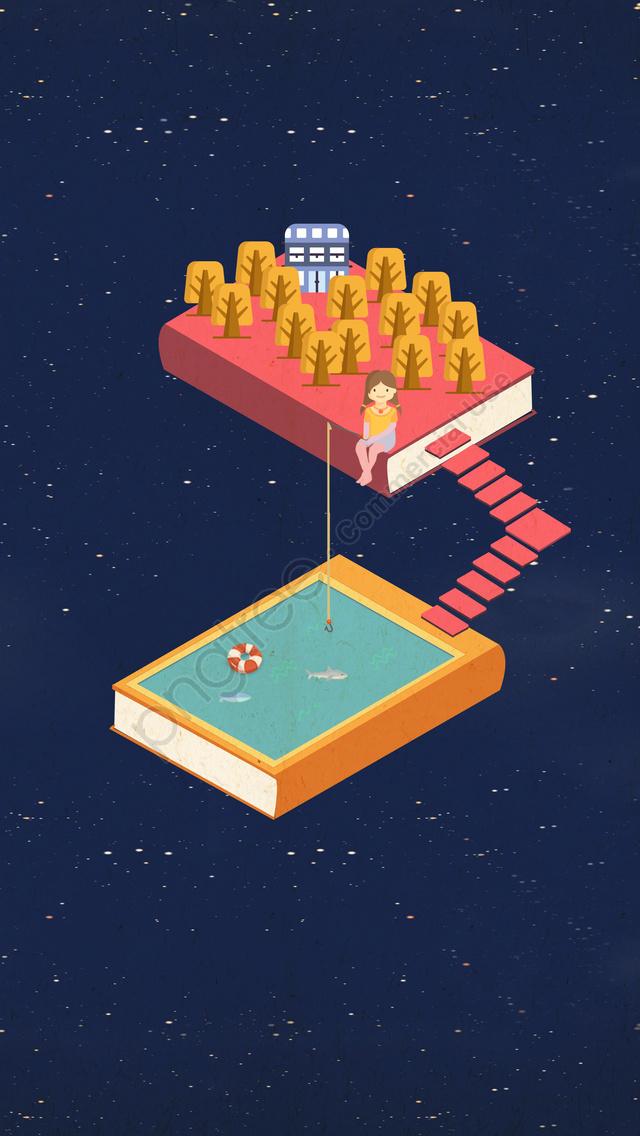 पुस्तक पढ़ने के बच्चे H5, सरल, लड़की, किताब की दुनिया llustration image