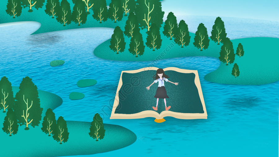 Book World Simple Comfortable Reading, Spring, Natural, Love Reading llustration image