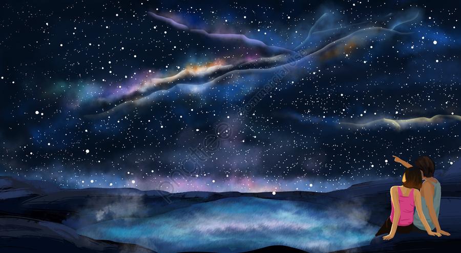 boy girl couple lake surface, Starry Sky, Dream, Romantic llustration image