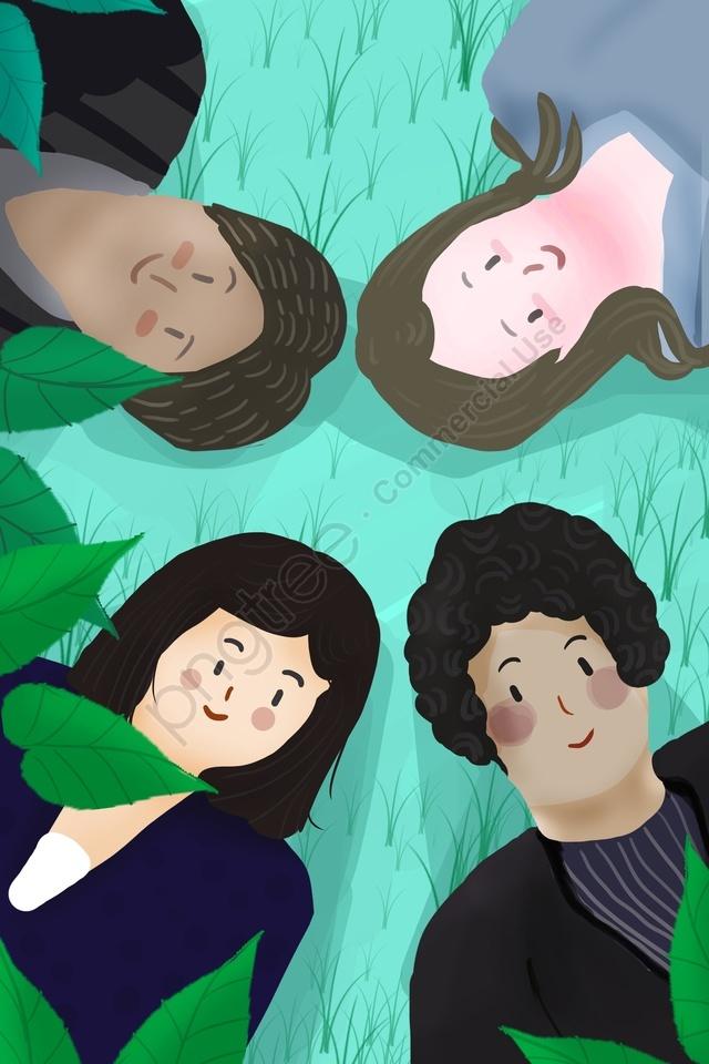Boy Girl Different International Different Skin Tone, International Friendship Day, Grassland, Leaf llustration image