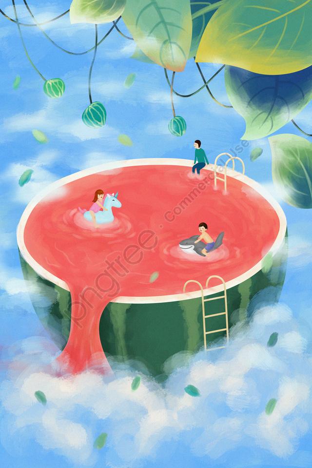 Boy Girl Swimming Pool Ladder, Vine, Boy, Girl llustration image