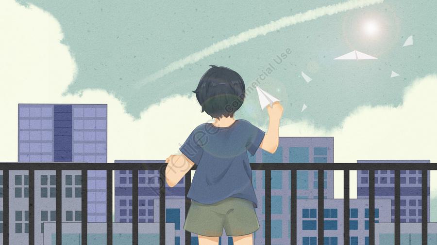 Cậu Bé Vị Thành Niên Nhìn Lại Bầu Trời, Máy Bay Giấy, Trên Mái Nhà, Ánh Nắng Mặt Trời. llustration image
