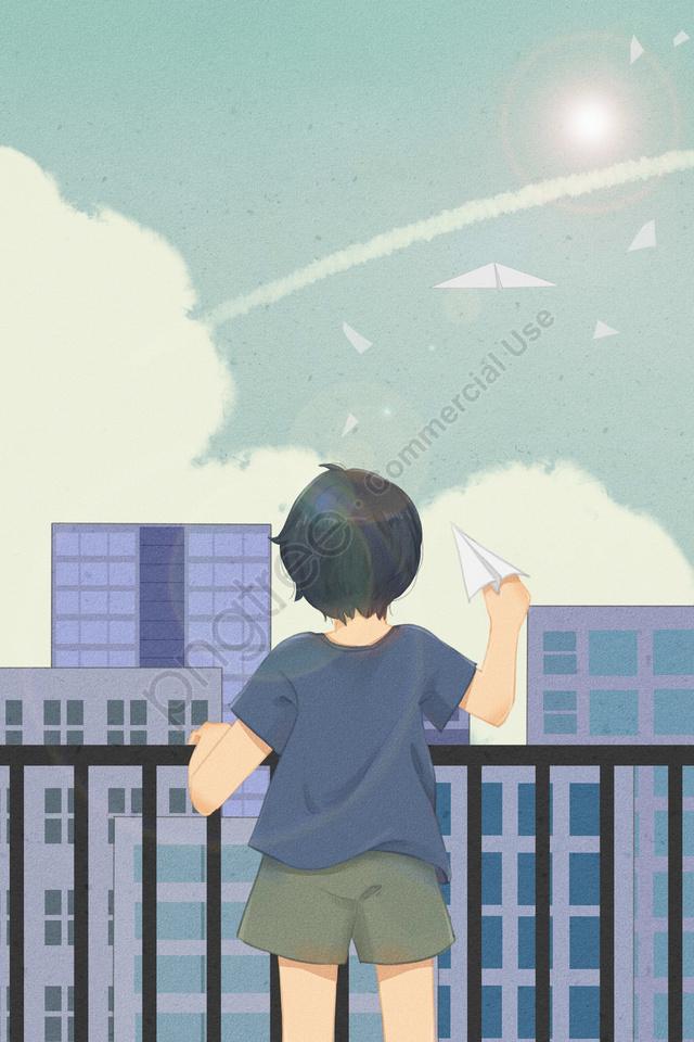 लड़का किशोर वापस आकाश देखें, छत, विमान बादल, कागज विमान llustration image
