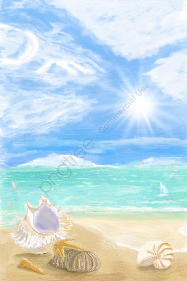 उज्ज्वल सूरज की रोशनी समुद्र तट खोल, नॉटिलस, सागर, नीले आकाश llustration image