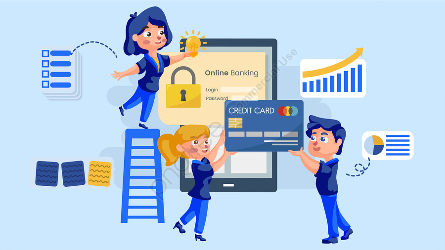 Business Finance Blue Online Technology Mobile Phone, Bank Card, Big Data, Business Data llustration image