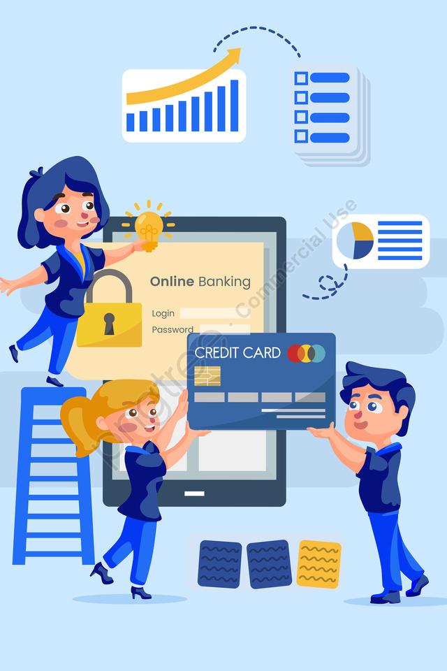 व्यापार वित्त ब्लू ऑनलाइन प्रौद्योगिकी मोबाइल फोन, बैंक कार्ड, बड़े डेटा, व्यापार डेटा llustration image