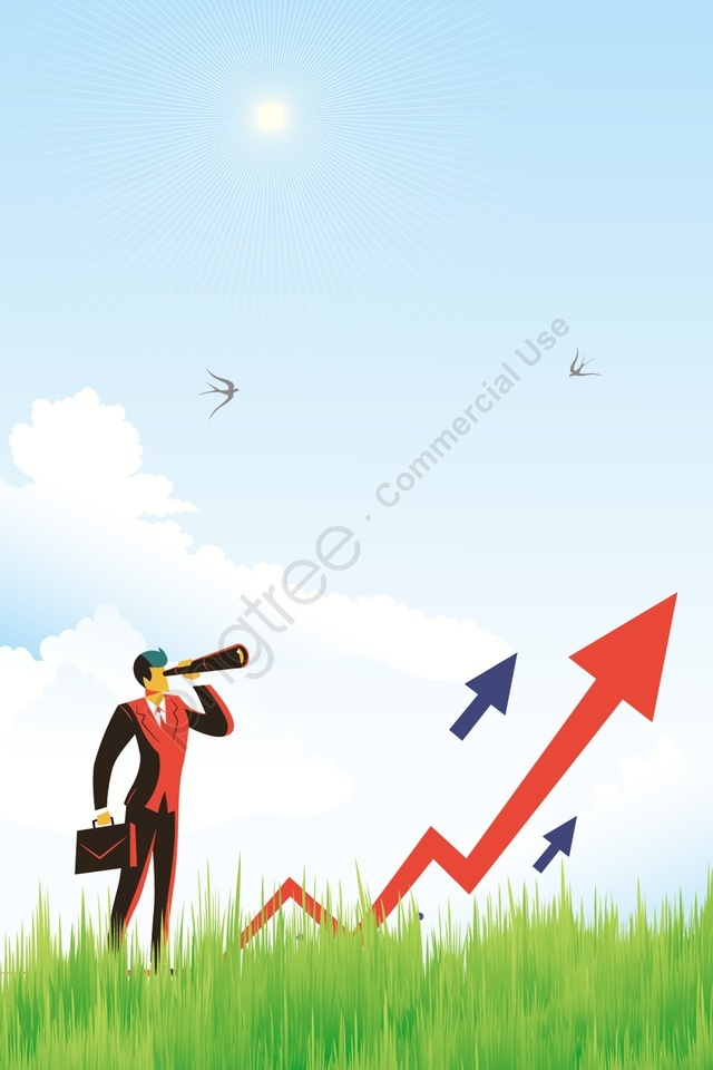business financial arrow inspection, Green Space, Sun, Is llustration image