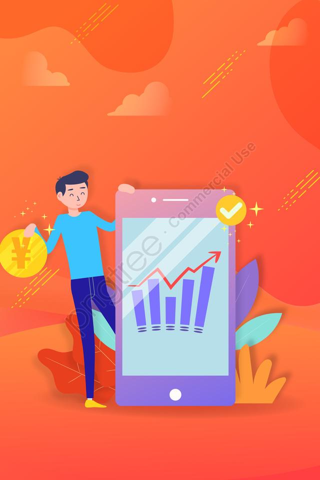 ビジネス金融事務所の概念, 金, 携帯電話, 所得 llustration image