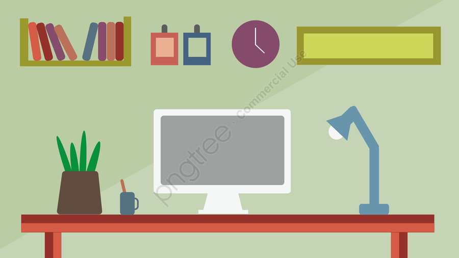 Business Home Office Business Office Desk, Table, Computer, Illustration llustration image