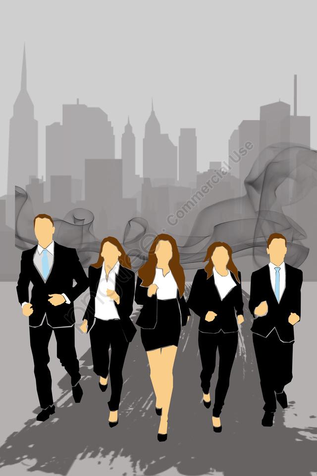 Placa De Ilustração De Negócios Pintura Plana, Simples, A Equipa, Colarinho Branco llustration image