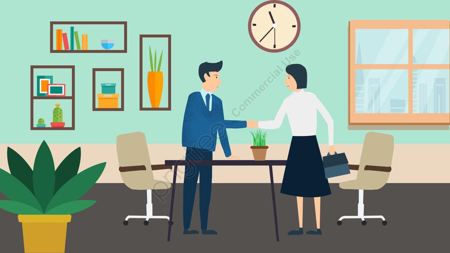 営業所在宅協力, 交渉する, 握手, フラワーズ llustration image
