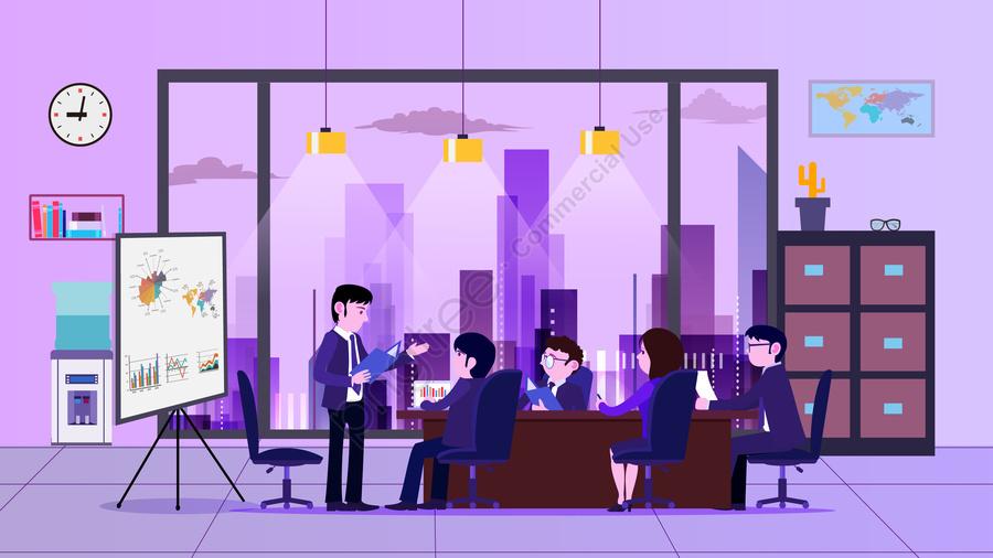 Reunião Do Escritório De Negócios Discutir, Dados, Eficácia, A Educação llustration image