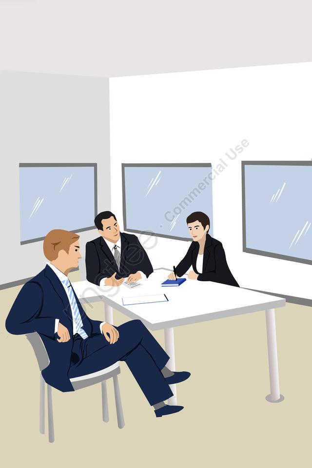 व्यापार कार्यालय की बैठक टीम, सरल, कार्टून, कार्यालय llustration image