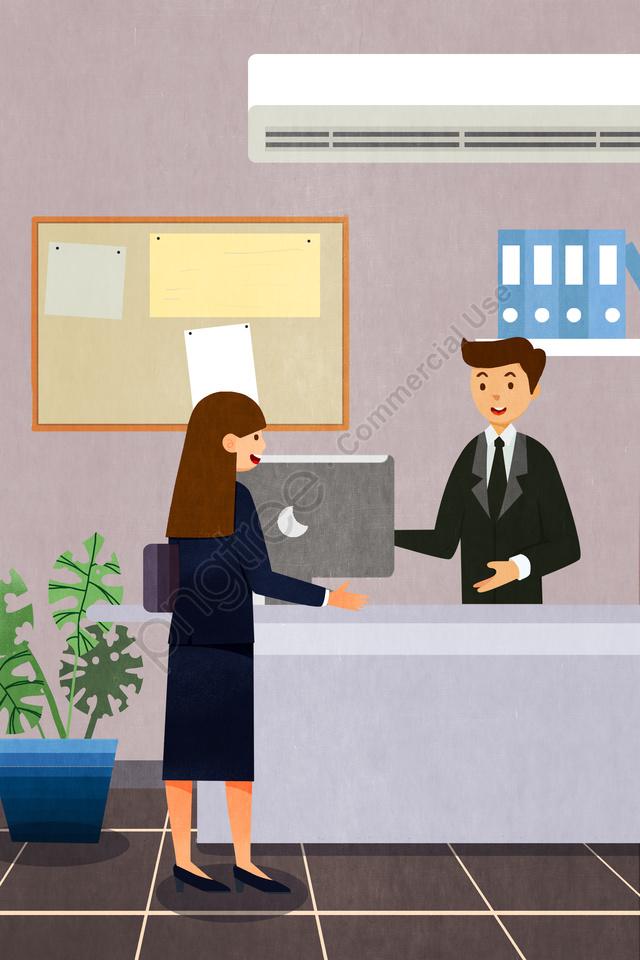 営業所は商談を交渉する, フロント, カウンター, ビジネス llustration image